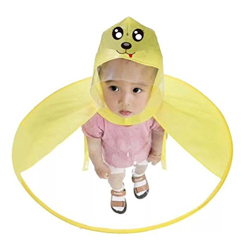 Gbell Cute Dog Kids Rain Coat,Lightweight Umbrella Hat Magical Hands Free UFO Raincoat for Toddler Boys Girls Children 4-10 Years Old,Size S M,Yellow (Yellow, M-75cm/29.52