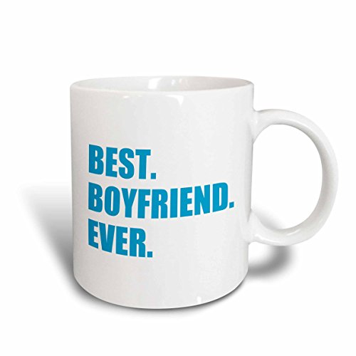 3dRose mug_179710_1 Blue Best Boyfriend Ever Text Anniversary Valentines Day Gift for Him Ceramic Mug, 11-Ounce