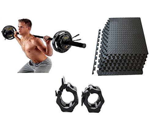 Bundle of 3 includes Gold's Gym Olympic Weight Set, 110 lbs, Locking clamps, and mats by Golds gym...