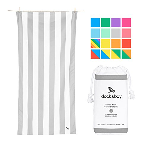 Dock & Bay Lightweight Beach Towel for Swimmers - Goa Grey, Large (63x31) - Swim, Pool, Yoga, ()