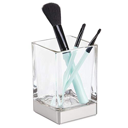 (mDesign Modern Square Glass Bathroom Vanity Countertop Tumbler Cup for Rinsing, Drinking, Storing Dental Accessories and Organizing Makeup Brushes, Eye Liners - Clear/Brushed)