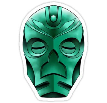 Lancy's Artwork Traditional Dragon Priest mask - 4x4 - Doctor Who Dr Who Sticker