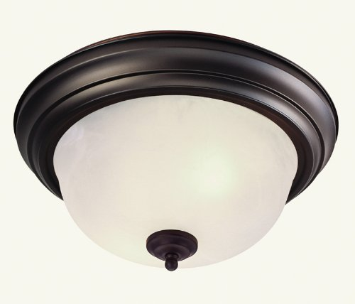 Livex Lighting 7117-07 North Port 2 Light Bronze Flush Mount with White Alabaster Glass - Black Finish White Alabaster Glass