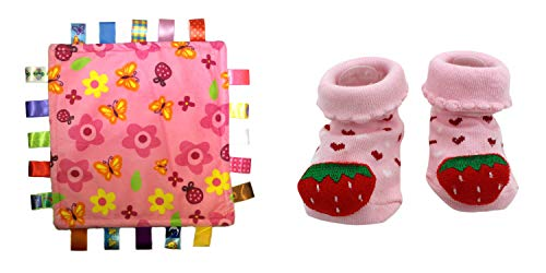 Price comparison product image New Cute Baby Strawberry Socks & Little Taggie Flowers Blanket Theme 2-Pack 3-12 Months w / Gift Box