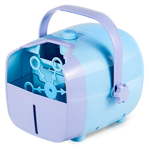 NATURALIFE Auto Bubble Blower Machine with 2 Speed Level for Kids, Operated by Plug in or Battery