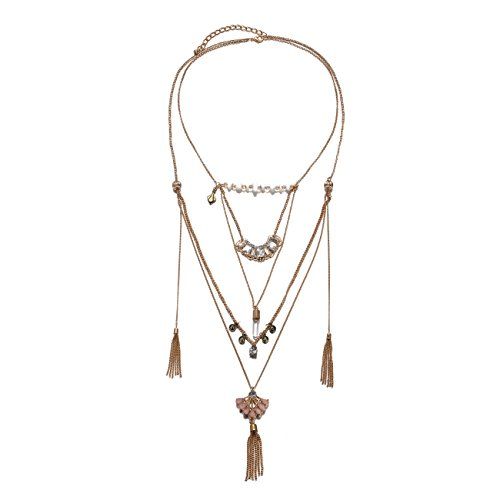 Triple Chain Charm Necklace - 7