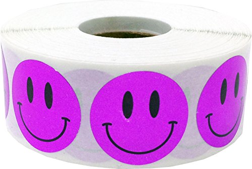 Metallic Purple Smiley Face Circle Dot Stickers, 1 Inch Round, 500 Labels on a Roll (Smiley Face Purple)