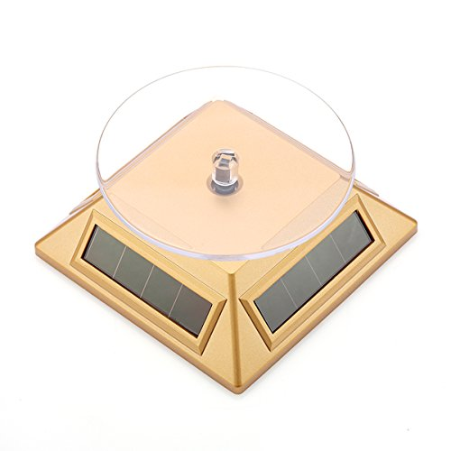 10L0L. High-performance 360 °rotary Cell phone Jewellery Rotating Display stand Turntable Solar-powered Rotating Showcase (Golden)