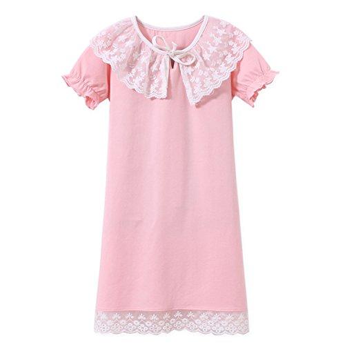 AOSKERA Girls Lace Nightgowns Cotton Sleepwear Puff Sleeve Sleep Shirt for 3-12 Years