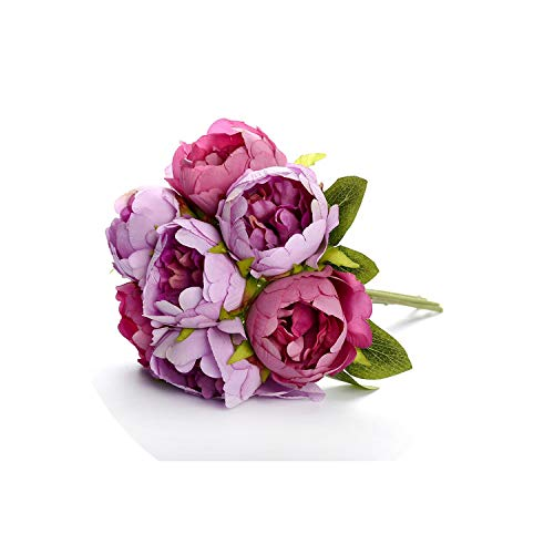 Bridal Wedding Bouquet Artificial Silk Rose Peony 7 Heads Flower Pink Bridesmaid Bouquet Party Prom Wedding Supplies,Purple]()