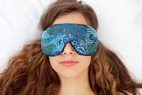 (Weighted Sleep Eye Mask Pillow Handmade by Candi Andi - Adjustable Strap - Travel - Flax Seed Filled - Lavender Scented or Unscented - Satin Brocade and Crushed Velvet - Dark Turquoise - TEMLF-DT )