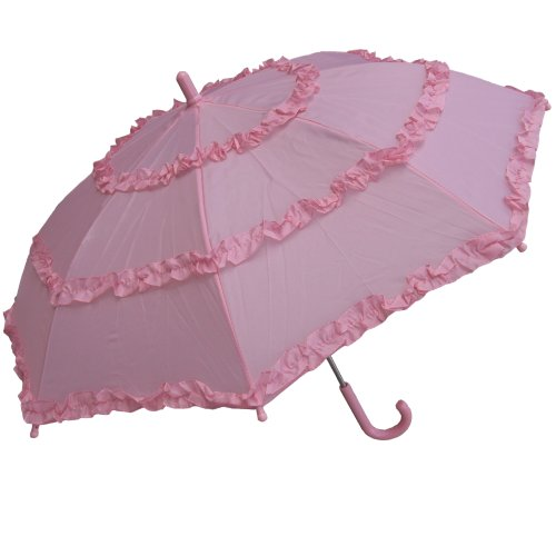 RainStoppers Girl's Solid Umbrella with Three Ruffles, Pink, 34-Inch