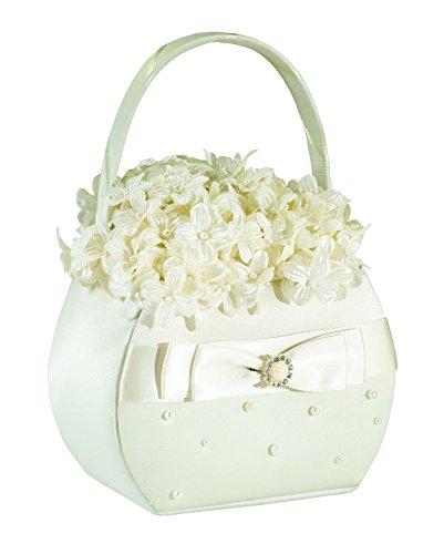 Lillian Rose Elegant Scattered Pearl Flower Girl Basket Ivory