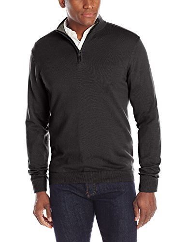 Oxford NY Men's Quarter Zip Mock Neck Cotton Sweater, Black, Small (Mock Quarter Sweater Zip)