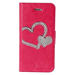 Rose-Carmine DIY Heart with Rhinestone Pattern Leather Case with Holder & Credit Card Slots for iPhone 5/5S