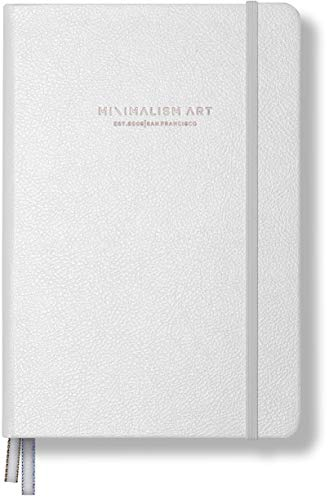 Minimalism Art, Premium Edition Notebook Journal, Medium A5 5.8 x 8.3 inches, Plain Blank Page, Hard Cover, 234 Numbered Pages, Gusseted Pocket, Ribbon Bookmark, Ink-Proof Paper 120gsm (White) ()