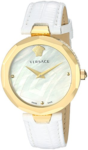 Versace-Womens-IDYIA-Swiss-Quartz-Steel-and-14K-Gold-and-Leather-Casual-Watch-ColorWhite-Model-V17050017