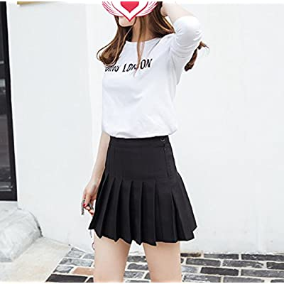 Tremour Women High Waist Pleated Mini Tennis Skirt Solid Short Skirts at Women's Clothing store