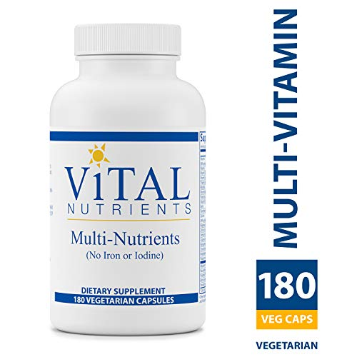 Multi Iron - Vital Nutrients - Multi-Nutrients (No Iron or Iodine) - Comprehensive Multi-Vitamin/Mineral Formula With Potent Antioxidants - 180 Capsules
