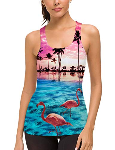 uideazone Workout Tanks for Women 3D Flamingo Printed Racerback Tank Top Summer Beach Holiday Hawaiian Shirt Large]()