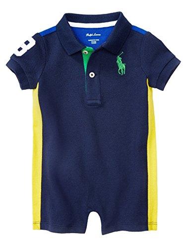 Ralph Lauren Baby Boys Cotton Mesh Polo Shortall (9 Months, Newport Navy)