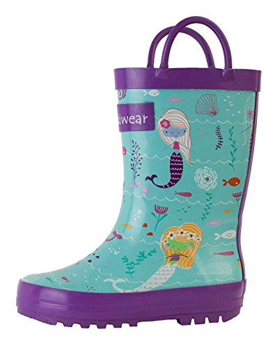 Oakiwear Kids Rubber Rain Boots with Easy-On Handles, Mermaids, 9T US Toddler (Backpack Solo Picnic)