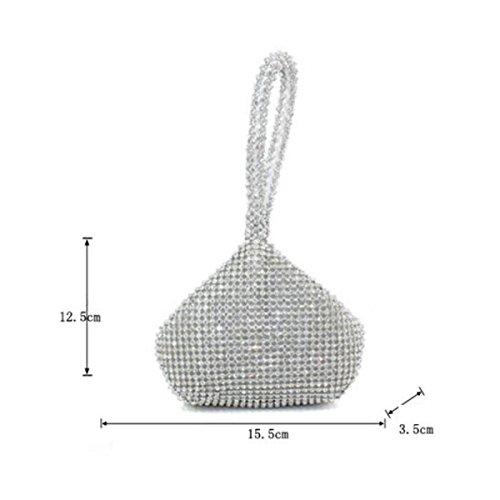 Señoras Clásico Bolso Princesa Mención Llevar Moda Bolsa De Cena Novia Mini Bolsa Cuentas Diamante Silver
