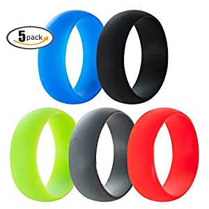 Jude Jewelers 5 Pack, 8mm Medical Grade Silicone Rings Wedding Band