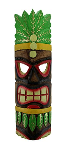 Zeckos Hand Carved Island Style Wooden Polynesian Party Tiki Mask 20 Inch