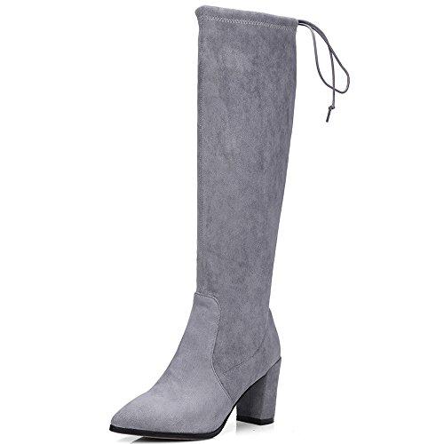 Negen Zeven Suède Leren Dames Puntige Neus Stevige Hak Eenvoudige Handgemaakte Elegante Over De Knie Laarzen Grijs