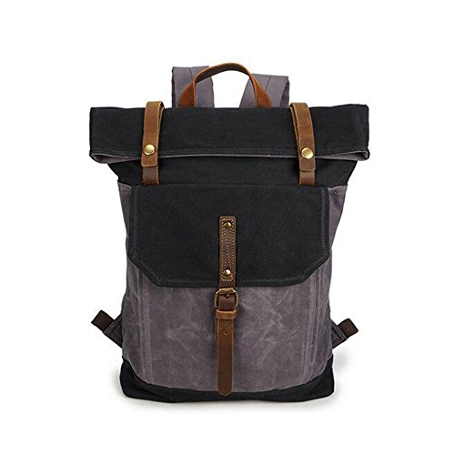 Yxlong Knapsack Backpack Canvas Backpack Retro Canvas Men Travel Men Crazy Horse Leather Men's Backpack Waterproof Men, Armygreenwithcoralblue Graywithblack