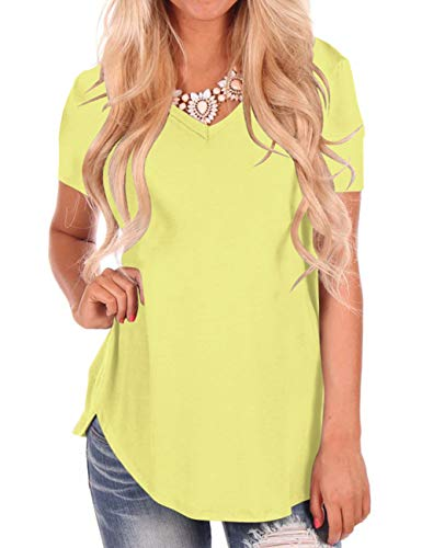 Short Sleeve Summer Tops for Womens V-Neck T-Shirts Loose Casual Tee Yellow S