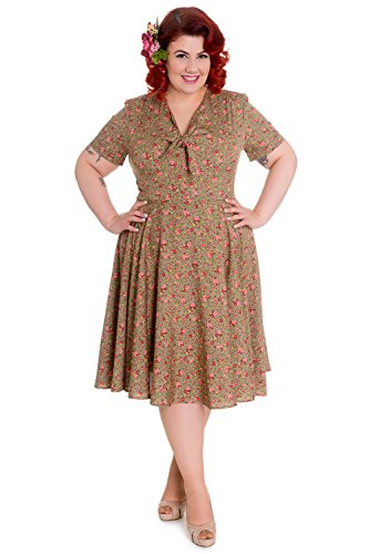 Hell-Bunny-Plus-Lovely-Sweet-Lady-Green-Pink-Mini-Rose-Floral-Print-Flare-Dress