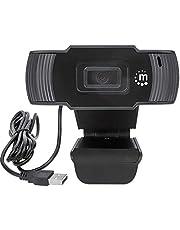 Manhattan USB Webcam 2 Megapixels, 1080p Full HD, USB-A Plug |Integrated Microphone|Adjustable Clip Base|30 fps