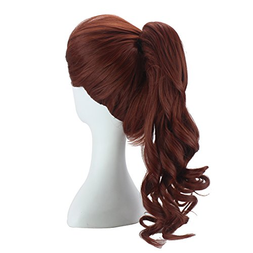 ColorGround Female Long Curly Brown Cosplay Wig with Ponytail
