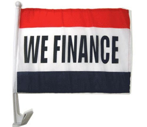 Mission Flags We Finance Car Window Flags Clip On Perfect for Car Auto Sales - Sold by the dozen - Quantity Discounts