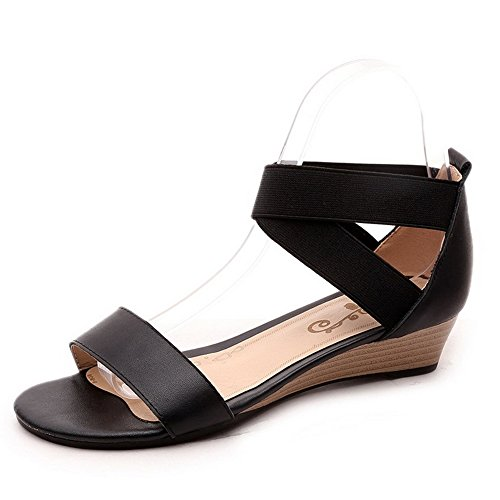 Wedges Heels Women's Black Leather Toe Sandals Open Solid Elastic WeenFashion Low Cow H6zCnq