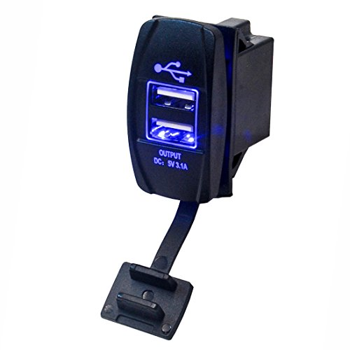 Marine Grade Dual USB Charger Outlet with LED Backlight DC 12/24V Input 5V 3.1A Output from U.S. SOLID (Blue) (Terminal Ohio)