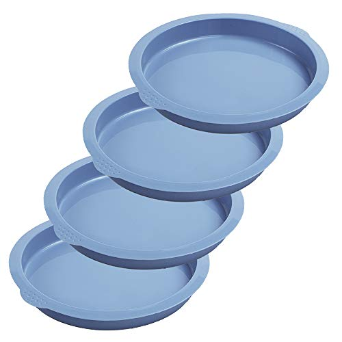 Webake Layer Cake Pans, 7 Inch Round Cake Pan Set, Silicone Cake Mold Versatile for Rainbow Cake Vegetable Pancake Taco Shell Pizza Crust Frittata and Resin Craft (Set of 4)