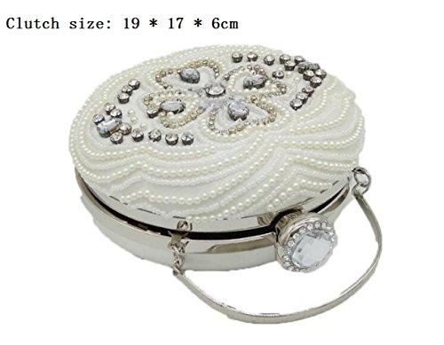 à sac embrayage femmes soirée Shimmer gamme la White pour main de de sac à main la Dinner noce paquet perlé sac haut Sacs v7axwU