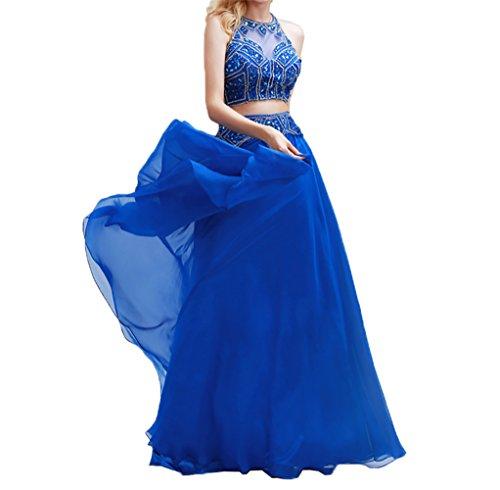 Royal Fesltichkleider teilig Zwei Partykleider Lang Chiffon Damen Abendkleider Abschlussballkleider Perlen Blau Charmant vw7Bqg