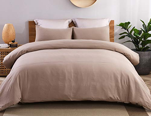 JML Duvet Cover Queen, Ultra Soft 100% Washed Microfiber 3 Pieces Bedding Comforter Cover Set, Hypoallergenic and Breathable Solid Color Duvet Cover Set, Taupe