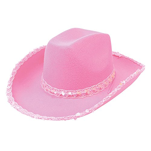 Bristol Novelty BH205 Cowboy Pink Felt Hat with Sequins, One -
