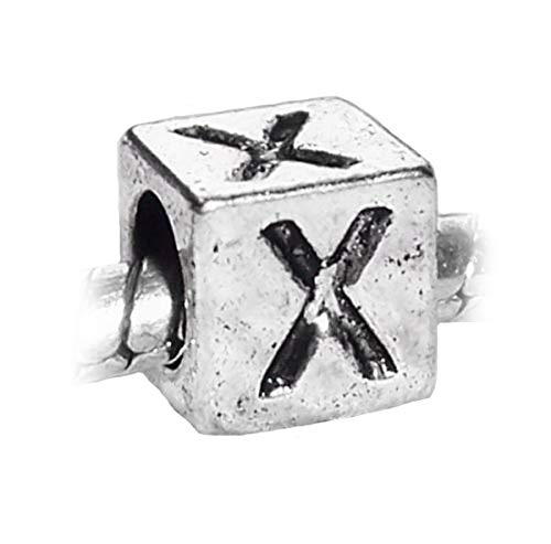 Letter X Alphabet Initial Cube Square Charm for Silver European Bead Bracelet Crafting Key Chain Bracelet Necklace Jewelry Accessories Pendants
