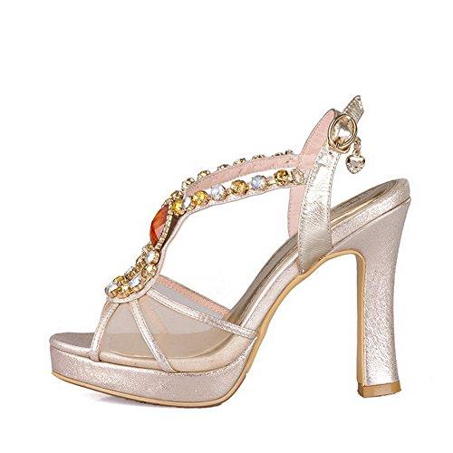 AllhqFashion Womens Buckle High-Heels Sheepskin Solid Peep Toe Sandals Lightgold ZAsKjS5IQ