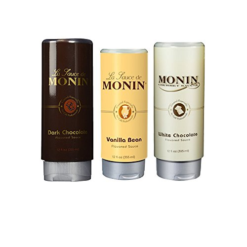 Monin Gourmet Sqeeze Sauce 3 Pack - White Chocolate, Dark Chocolate, Vanilla Bean Monin White Chocolate Sauce