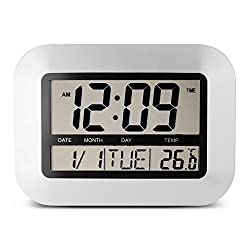 Egundo Sliver Alarm Clock Digital LCD Screen with Indoor Temperature Snooze Timer Date 12/24 Hour Battery Operated Office Bedrooms Home Wall Clock Plastic for Heavy Sleepers Kids