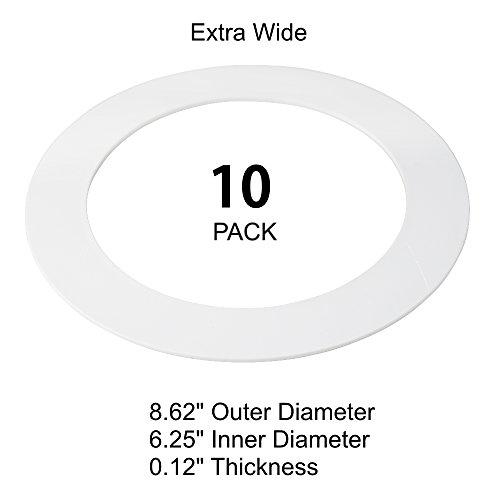 10 Pack White Plastic Goof Trim Ring for 8