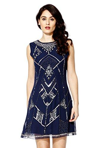 Vestido Recto Mujer Años 20 Estilo Vintage Charlestón Clásico Gatsby Abbey Flecos Lentejuelas Con Cuentas Azul