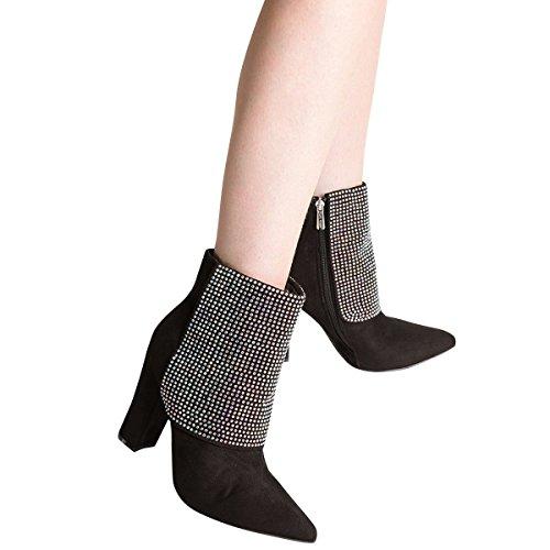 Booties Womens Ankle ROBBIN Jeweled Black Toe Boot Rhinestone Chunky Pointy Heel CAPE RZx5zqw5